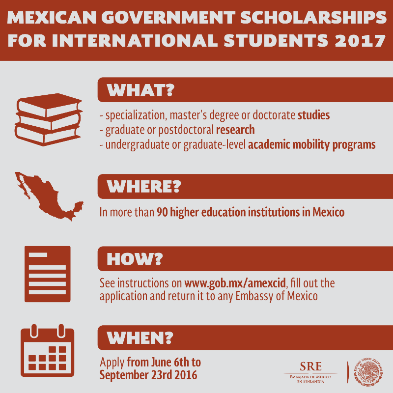 Mexican Government Scholarships for International Students 2017